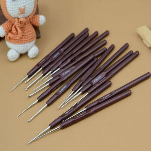 Set of 16 Soft Grip Handle Aluminum Crochet Hooks Knitting Needles Tool S 3