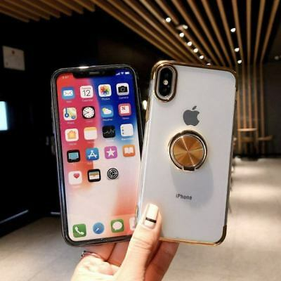 Magnetic Plating Clear Soft Case Cover With Ring Holder For iPhone XS Max XR 7 8 4