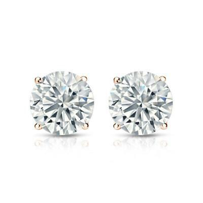 1 Ct Diamond Stud Earrings 5MM Round Diamond Solitaire Earrings 14k Rose Gold 2