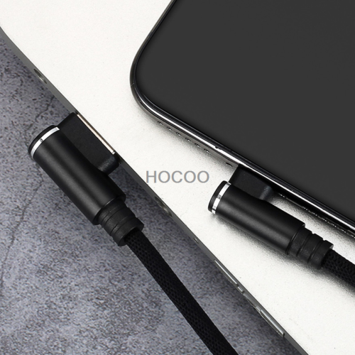 L Shape Elbow Fast Charging Cable Cord Sync For Lightning Android Type c Braided 3