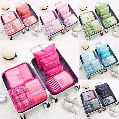 6PCS Travel Packing Cube Pouch Suitcase Clothes Storage Bags Luggage Organizer 2