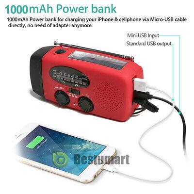 1000mAh Emergency Solar Hand Crank Radio NOAA Weather w/AM/FM LED Flashlight SOS 5