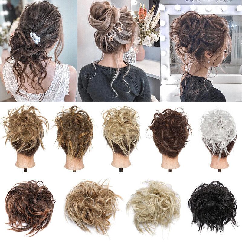 100% REAL Messy Bun Scrunchie Hair Extension Ponytail As Human Hair Piece Blonde 5