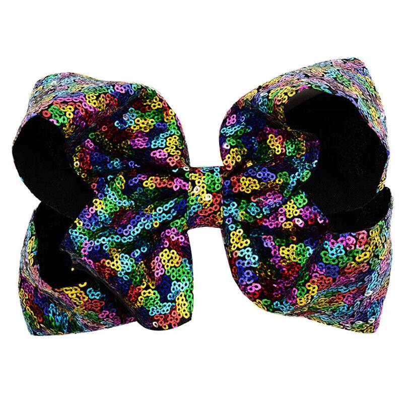 8 Inch Kids Girls Baby Glitter Sequin Cute Bowknot Hair Clips Hair Bows Hairpins 6