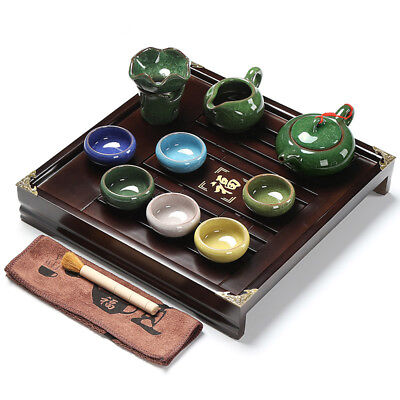 Chinese tea set with tea tray pot cups solid wood tea table with plastic layer 5