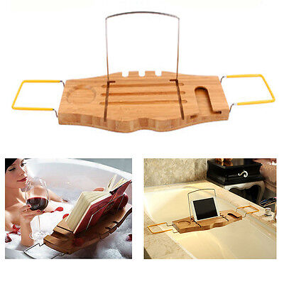 BAMBOO OVER BATH Caddy Bathtub Rack Tray Shelf Portable Wine Tablet ...