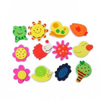 12X Baby Kids Educational Toy Wooden Magnet Kitchen Fridge Cartoon Toys 5