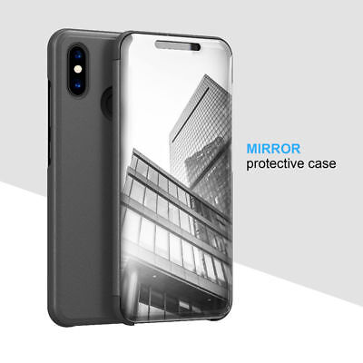 For Xiaomi Redmi Note 8 7 6 Pro 5A 4X Clear Mirror Leather Flip Stand Case Cover 7