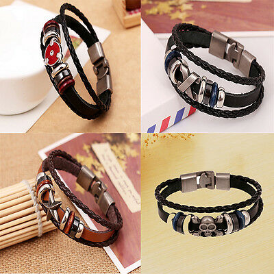 Brilliant  Punk Unisex Women Men Wristband Metal Studded Leather Bracelet 3