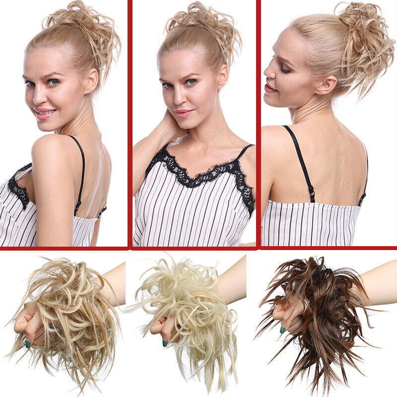 Large Thick Messy Bun Hair Scrunchie Updo Cover Curly Hair Extensions as Human 3