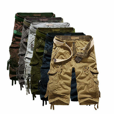 Summer 3/4 Long Length Shorts Kings Elasticated Waist Cotton Cargo Combat 5