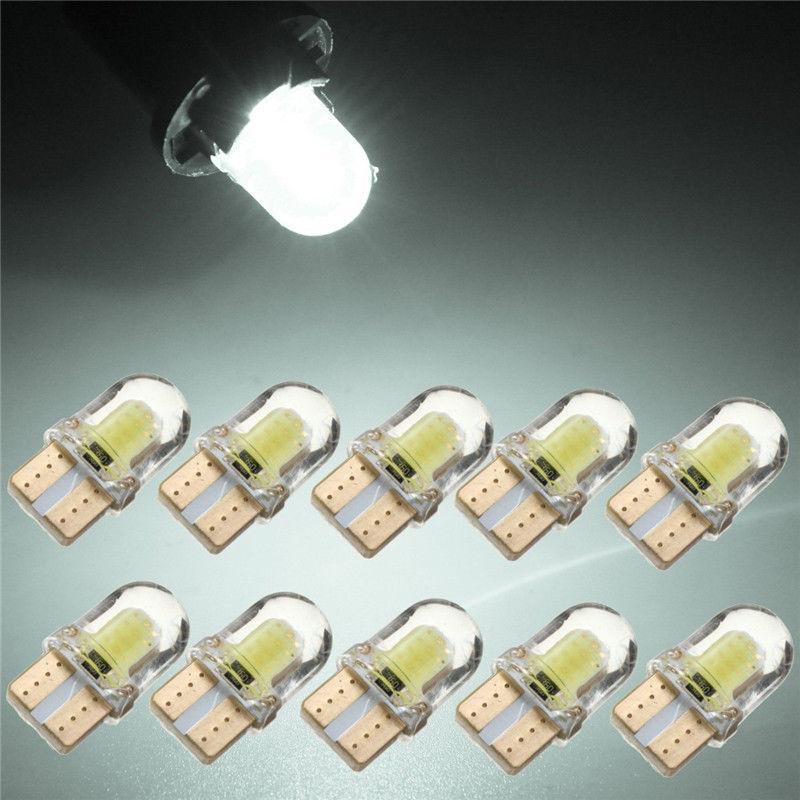 10pcs/kit LED T10 194 168 W5W COB 8SMD CANBUS Silica White License Light Bulbs 5