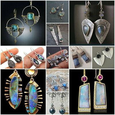 Silver Plated Vintage Turquoise Dangle Ear Hook Boho Hoop Women Jewelry Earrings 3