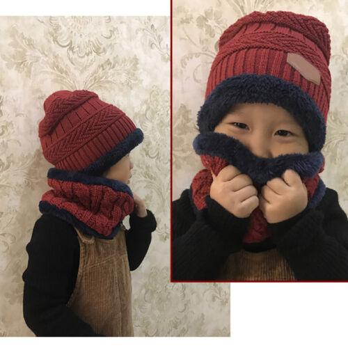 2pcs Soft Hat Scarf Set Child kids Baby Girl Boy Winter Warm Knitted Beanie Cap 3