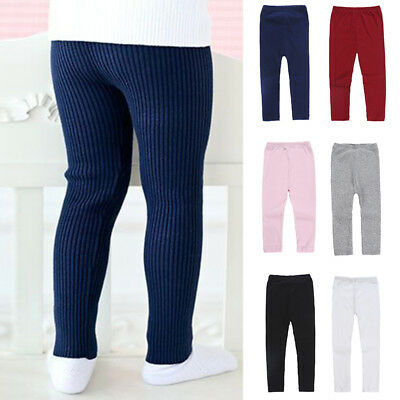 NEW CHILDRENS KIDS GIRLS CASUAL WINTER THERMAL Plain COTTON LEGGINGS All Ages 2