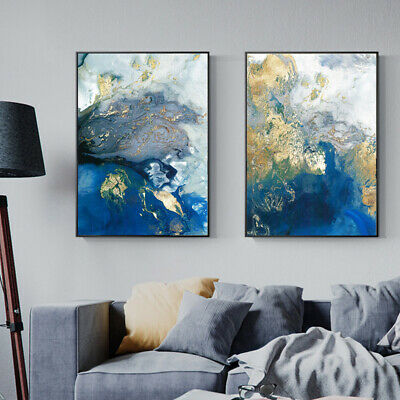 Golden Blue Abstract Poster Canvas Wall Art Abstract Print Modern Home Decor 2