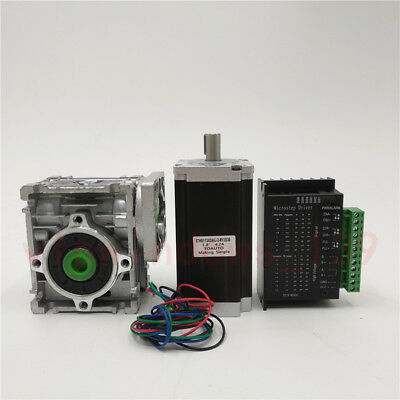Nema23 3NM Stepper Motor Driver Kit 4.2A & Worm Gearbox Speed Reducer 30:1 CNC 2