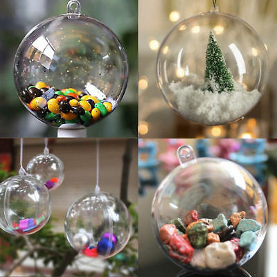 200Pcs Clear Plastic Christmas Balls Baubles Sphere Fillable Xmas Tree Ornament 12
