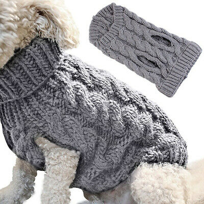 UK Fashion Knitted Puppy Dog Jumper Sweater Pet Clothes For Small Dogs Coat S-XL 6