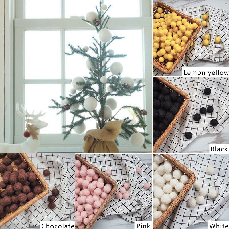 10pcs Fluffy Wool Felt Balls DIY Nursery Garland Decor Pram Hanging Ornament New 5