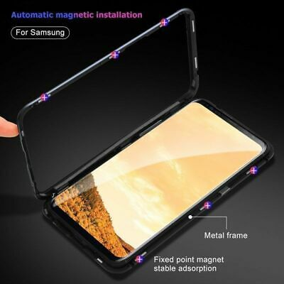 For Samsung S10//S9/S8 Note10 Plus 8/9 Magnetic case Metal Tempered Glass Cover 7