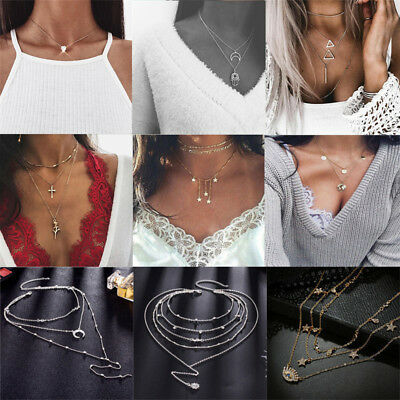 Fashion Women Multilayer Clavicle Necklace Pendant Charm Choker Chain Jewelry 2
