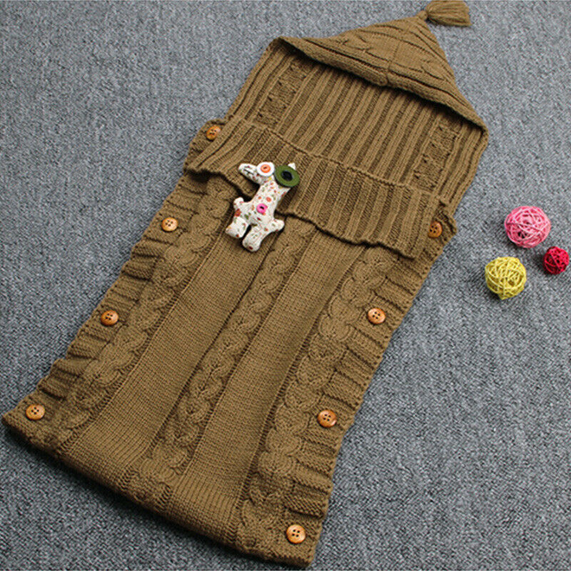 Infant Baby Kids Knitted Blanket Swaddle Sleeping Bag Sleep Sack Stroller Wrap 10
