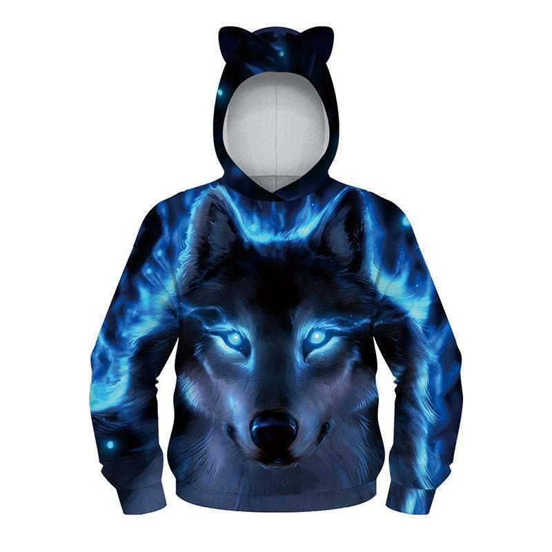 Kids Boys Girls Winter Hoodie Sweatshirt Wolf Printed Hooded Jumper Casual Tops 3