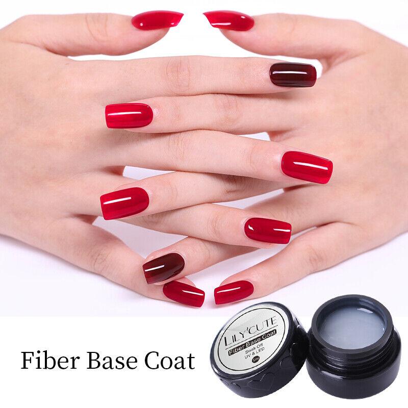 LILYCUTE 5ml Fiber Base Coat Soak Off UV Gel Polish Strengthening Broken Nails 7