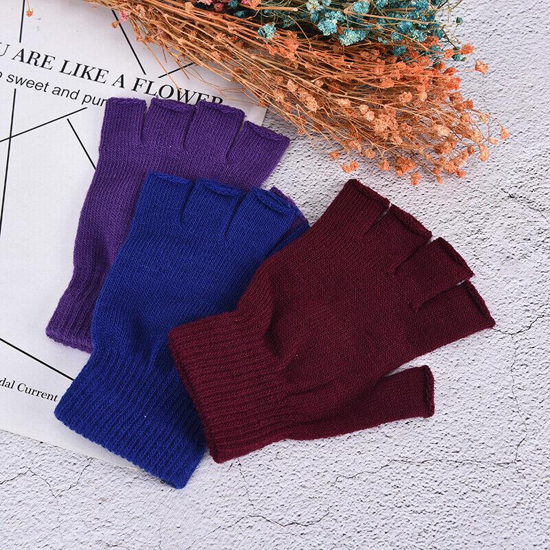 1 Pair Soft Half Fingerless Gloves Women Men Warm Knitted Mittens Couple _kz 11