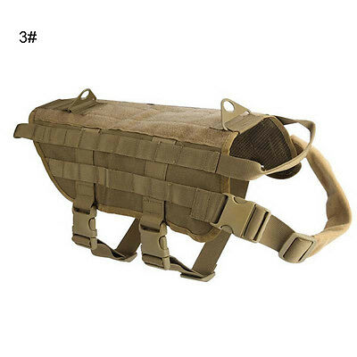S M L XL Tactical Police Dog Military Vest Service Canine Molle Harness Dog Wear 3