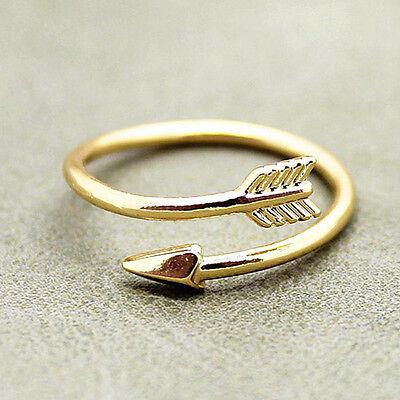 Magníficas mujeres anillos de oro plata ajustable flecha abierta anillo nudillo 3