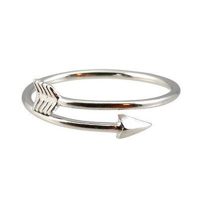 Magníficas mujeres anillos de oro plata ajustable flecha abierta anillo nudillo 8