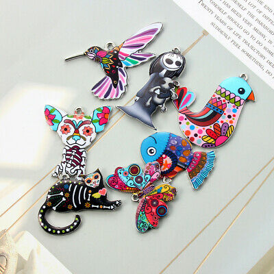 10Pcs Mixed Color Bird Dog Animals Enamel Charms Pendant Connector DIY Jewelry 6