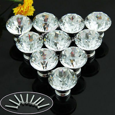 10Pcs 30mm Clear Diamond Crystal Glass Pull Handle Cabinet Drawer Door Knob Efoc