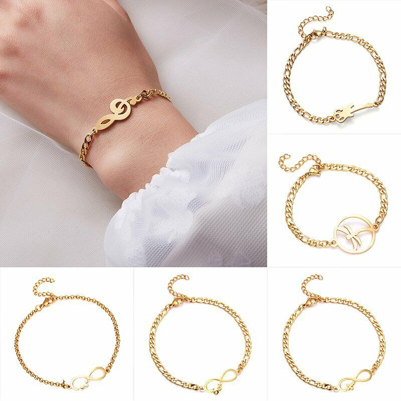 Mother Gold Stainless Steel Love Heart Women Cuff Bracelet Bangle Family Jewelry 7