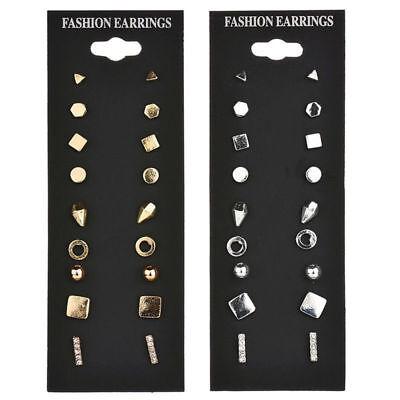 9Pairs Stud Earrings Set for Women Female Round Small Geometric Piercing Earring