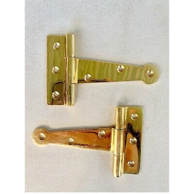 "4 polished small hinges vintage aged style solid Brass DOOR BOX heavy 4"" 5"