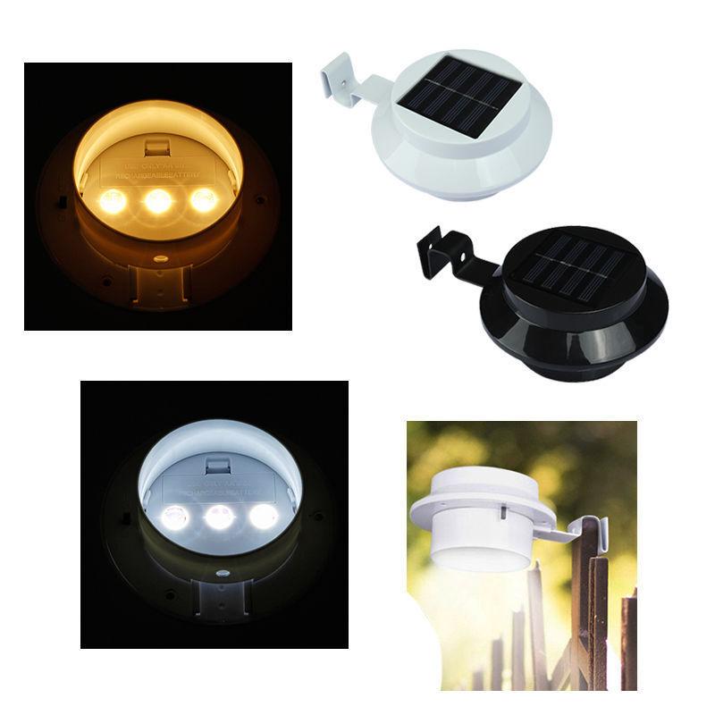 3LEDs Solarlampe Licht für Dachrinnen Außenlampe Leuchte Wandlampe Weiß/Warmweiß