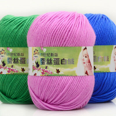 Lot Chunky Yarn Knitting wool Silk Protein cashmere Crochet baby soft cotton 50g 5