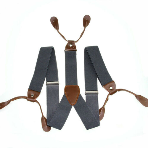 Mens Leather Elastic Suspenders Y-Back Button with Holes Adjustable Belt Braces 4