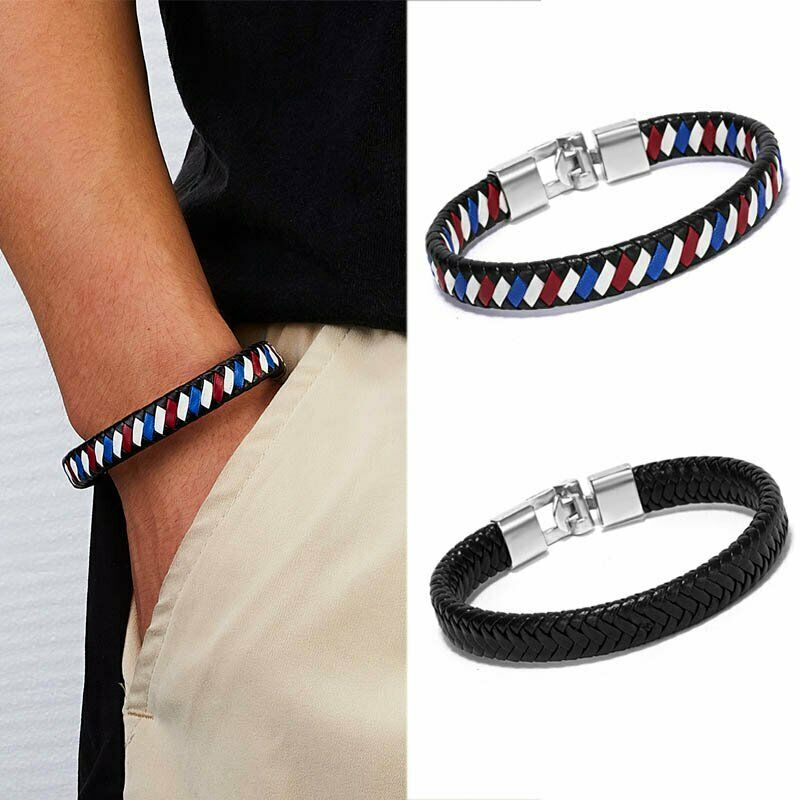 Punk Men's Leather Band Bracelet Watch Buckle Metal Magnetic Wristband Bangle 4
