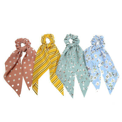 Simple Dot Stripes Floral Scrunchie Bow Streamers Hair Ties Ponytail Hair Ropes 4