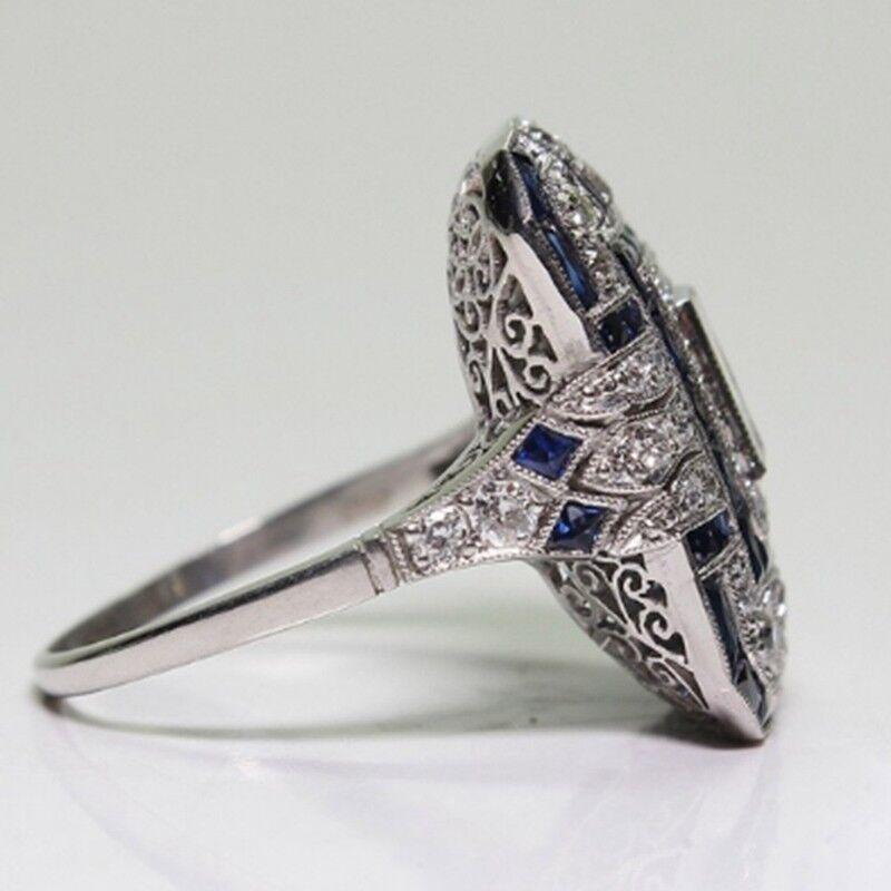 Frauen Männer Antik Art Deco Große Silber Blau Saphir & Diamant Ring Party Rings 7