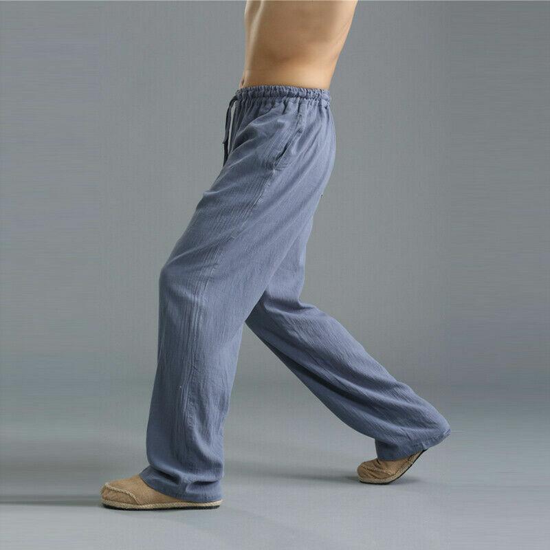 9ec7342faa12 Uomo Cotone Lino Pantaloni Larghi Vita Elasticizzata Kung Fu Arti Marziali  10 10 di 12 ...
