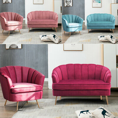 Blush Pink Velvet Lotus Seat Shell Tub Chair Armchair 2 Seater Sofa Couch Settee 8