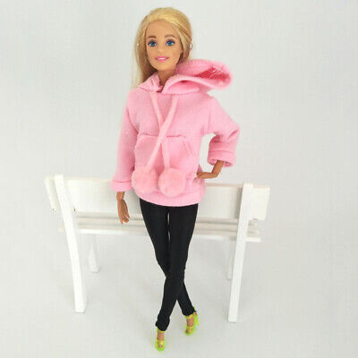 Pink Sweatshirt Doll Clothes Outfits Leather Pants Canvas Shoes For 1/6 Doll Toy 7