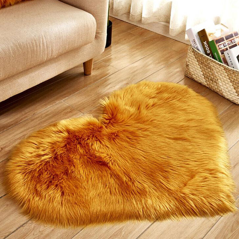 Heart Shaped Fluffy Rugs Anti-Skid Shaggy Area Rug Carpet Home Bedroom Floor Mat 8