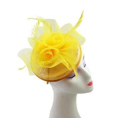 Elegant Flower Feather Hat Fascinator Headband Clip Wedding Royal Ascot Race 2