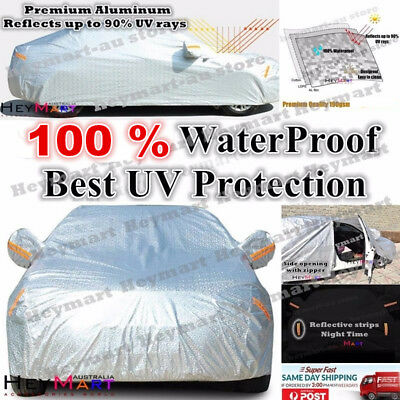 Aluminum waterproof Double thicker n car cover rain resistant UV dust car cover 4
